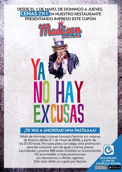 Cenas 2x1 en Madison American - Centro Comercial Los Alfares