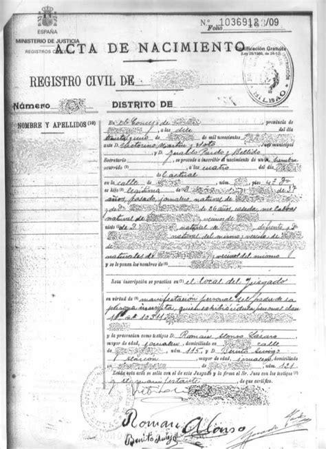 Certificado de Nacimiento en el Registro Civil de Almería