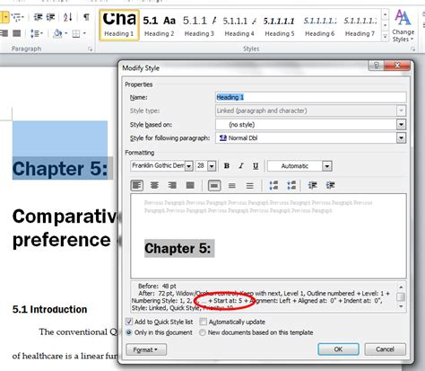 chapters - reset numbering in Word 2010 heading style ...