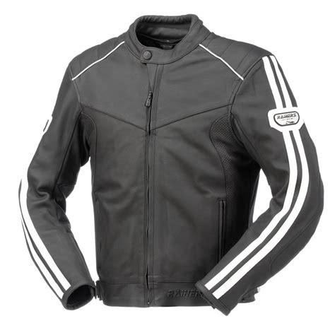 chaqueta moto de piel rainers lemans negra y blanca