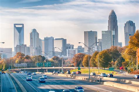 Charlotte North Carolina Skyline During Autumn Season At ...