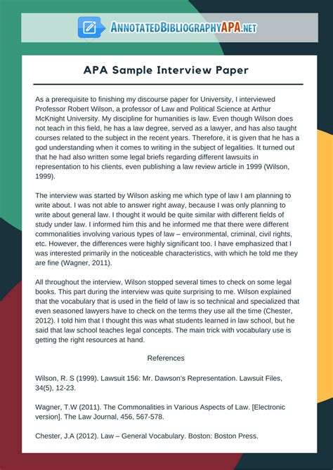 Check Out Flawless APA Sample Interview Paper