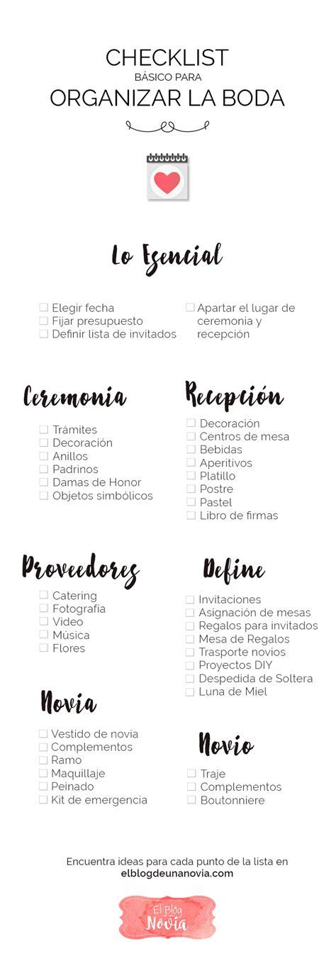 Checklist básico para Organizar la Boda | El Blog de una Novia