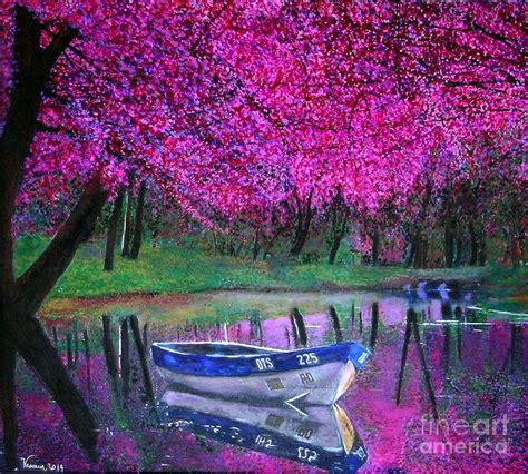 Cherry Blossoms By The Lake Painting by Marie-Line Vasseur