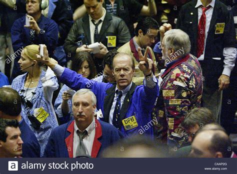 Chicago Board of Trade Member David Baby shouts in the ...
