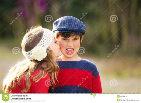 Child kiss stock photo. Image of brother, innocent ...