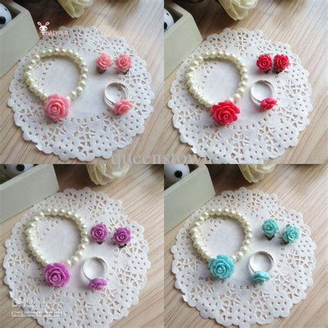 Children Jewelry Sets For Girls Flowers Imitation Pearl ...