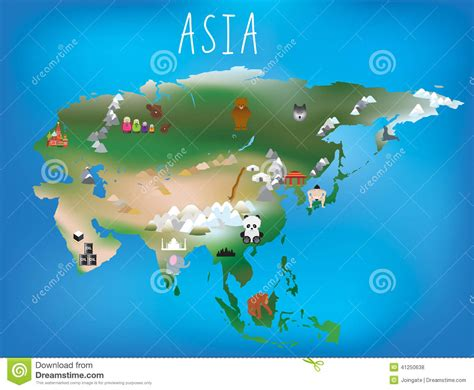 Childrens Map, Asia And Asian Continent With Landm Stock ...