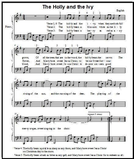 Christmas Song Lyrics and Free Piano Sheet Music for Holly ...