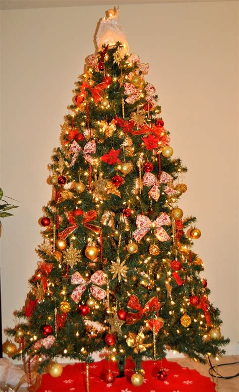 Christmas Trees Decorated In Red And Gold – Happy Holidays!