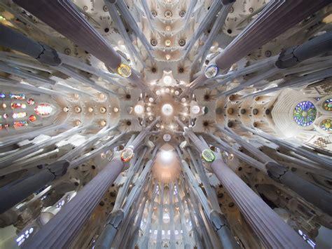 Church of the Sagrada Familia interior in Barcelona ...