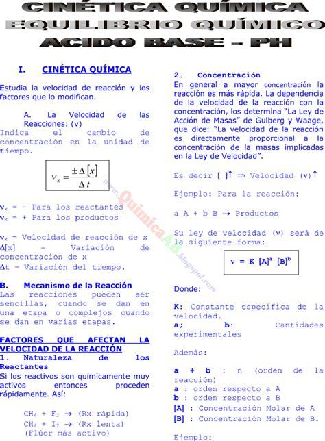 CINÉTICA QUÍMICA EQUILIBRIOS QUIMICO ACIDO BASE PH TEORIA ...