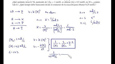 Cinética química. Problema 8   YouTube