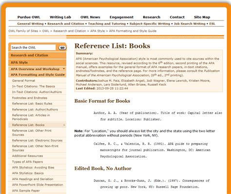 Citing Research Papers Using The Purdue OWL – Resources ...