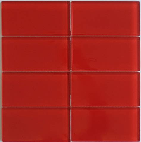 Classic Red Glass Subway Tile in Cherry | Modwalls Lush ...