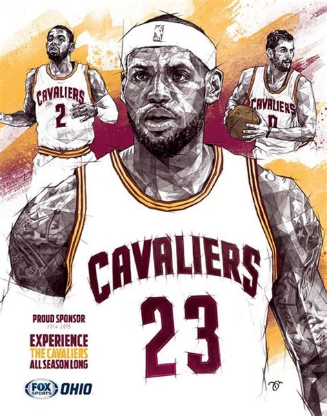 Cleveland Cavaliers 'Big Three' Geometric Sketch | Art ...