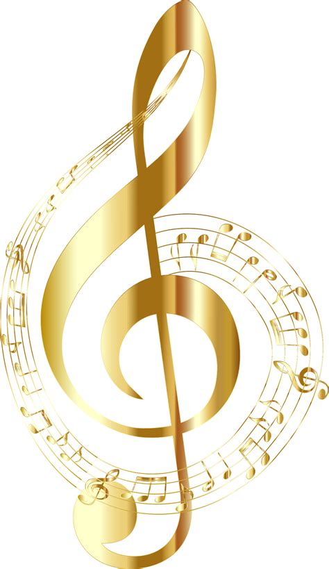 Clipart   Gold Musical Notes Typography No Background