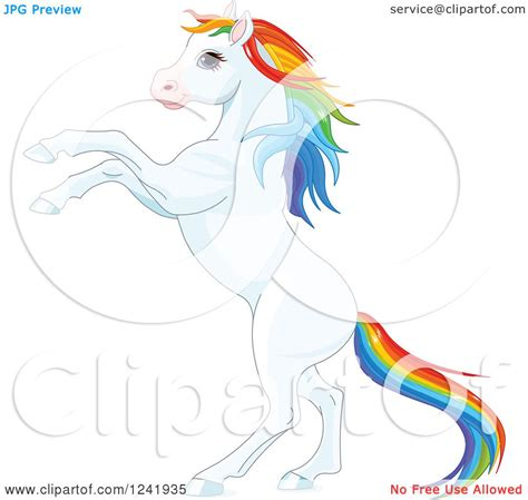 Clipart of a White Rearing Horse with Rainbow Hair ...