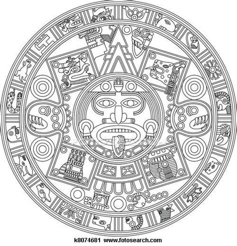 Clipart of Mayan Calendar Line Illustration k8074681 ...