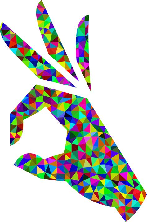 Clipart   Prismatic Low Poly OK Perfect Hand Sign Emoji 3