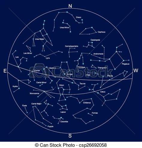 Clipart vectorial de cielo, mapa, y, constelaciones, con ...