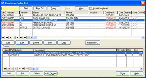 CMMS Software Purchase Order List shows your PO s