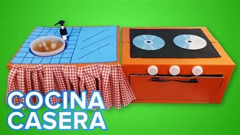 Cocina de juguete con cartón para niños | Manualidades ...