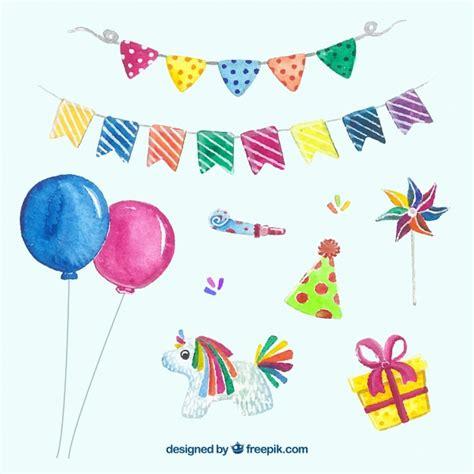 Colección de artículos de cumpleaños en acuarela ...