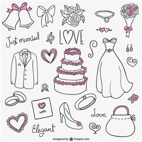 Colección de dibujos de boda | Descargar Vectores gratis
