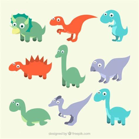 Colección de dinosaurios bebés dibujados a mano ...