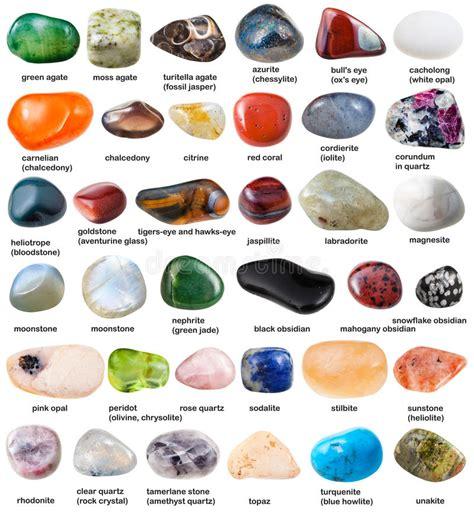 Colección De Diversas Piedras Preciosas Caídas Con Nombres ...