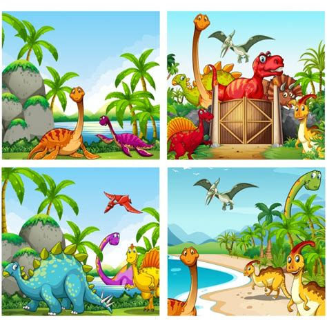 Colección de fondos de dinosaurios | Descargar Vectores gratis