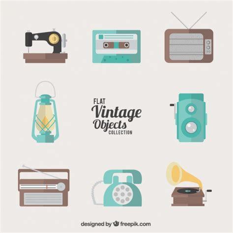 Colección de objetos vintage planos | Descargar Vectores ...