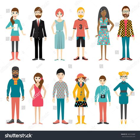 Collection Flat People Figures Full Length Stock Vector ...