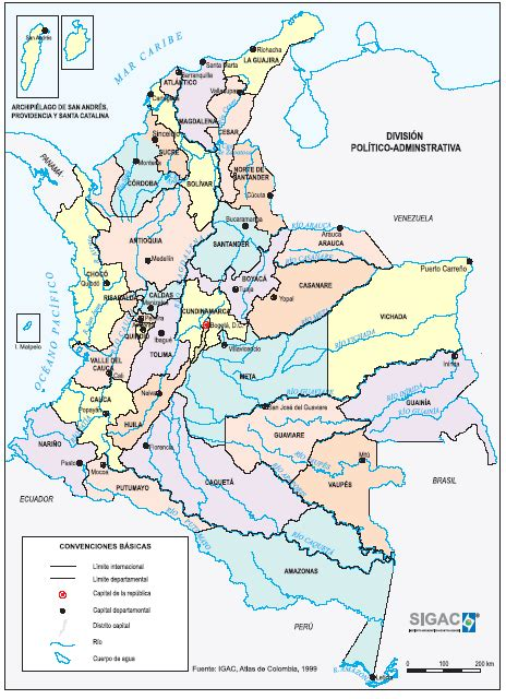 Colombia Mapa Geografico