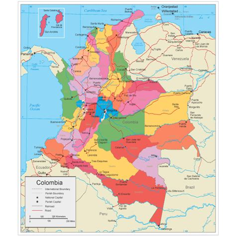 Colômbia Mapa Político