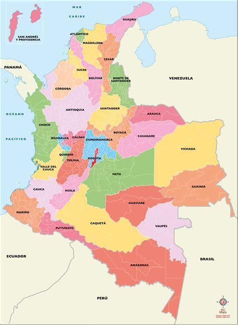 Colombia Mapa vectorial editable eps illustrator libres de ...