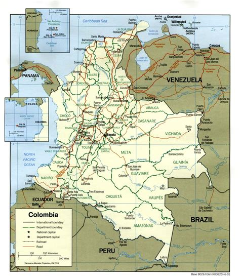 Colombia Political Map 2001 - Full size