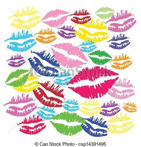 Color, beso, lápiz labial, plano de fondo vectores eps ...