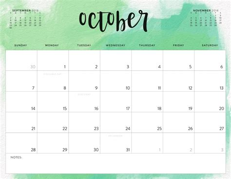 Color Pattern 2018 Printable Calendar | Calendar 2018