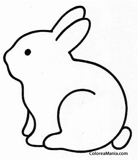 Colorear Conejo silueta (Animales de Granja), dibujo para ...