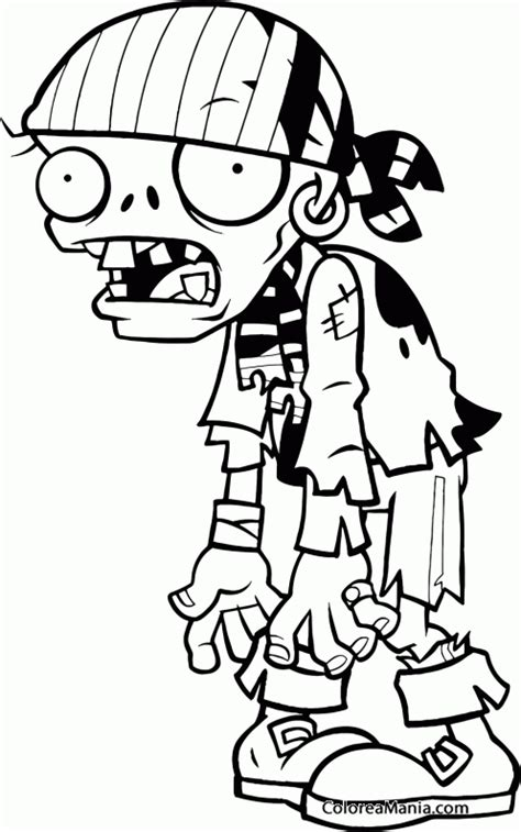 Colorear Pirata Zombie 2  Plants vs Zombies , dibujo para ...