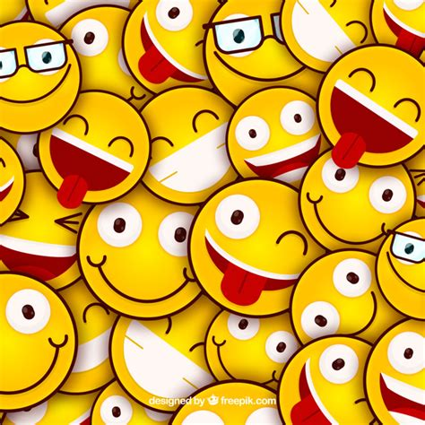 Colored background with emoticons in flat design Vector ...