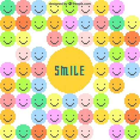 Colorful background with pixelated emoticons Vector | Free ...