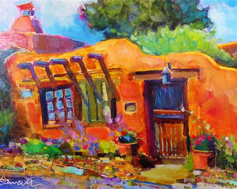Colorful Connections: Santa Fe adobe oil painting Canyon ...