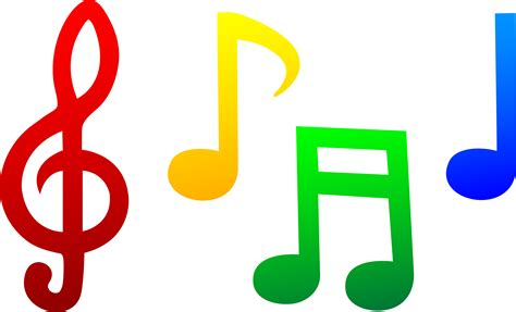 Colorful Musical Notes   Free Clip Art