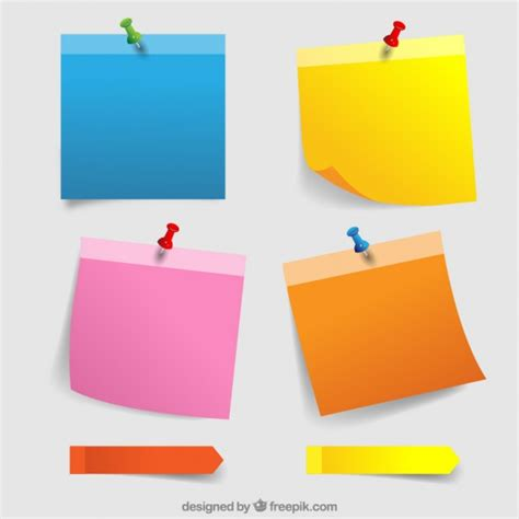 Colorful paper notes with thumbtacks Vector | Free Download