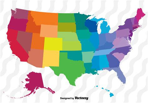 Colorful Vector Map Of The United States   Download Free ...