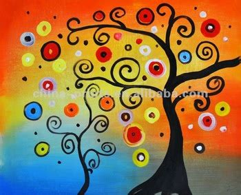 Colorido Abstracto Árboles Manualmente Pintura De Aceite ...