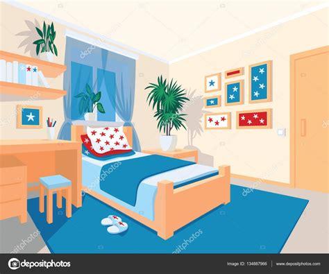 Colorido interior de dormitorio en estilo de dibujos ...